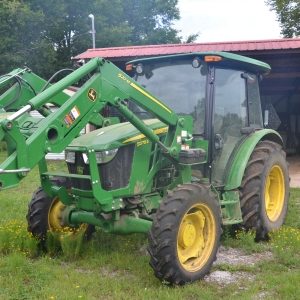 John Deere Cab Tractor | John Deere 5075E Cab Tractor with 520M Loader with Bucket & Hay Spear