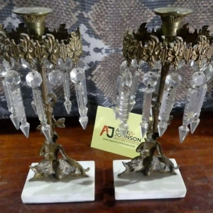 Marble Base Candle Holder & Prisms | Downtown Antique Mall