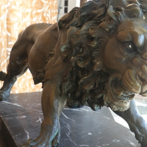 Bronze Lion on Marble | Downtown Antique Mall