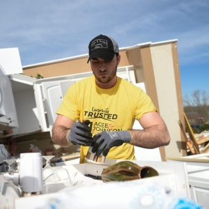 Brett Hutto Sigma Chi Brother  TN Tech Clean Up at Charlton Sq | Brett Hutto a brother of Sigma Chi at Tennessee Tech University cleans out the kitchen of Pete and Regina Webers home on Charlton Square in Baxter, Wednesday, March 4, 2020. A tornado hit the Cookeville area early morning Tuesday.The Tennessean Caitie McMekinNews Sentinel